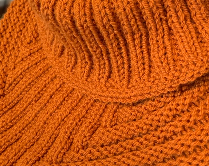 Cowl Knit-Ribbed Infinity Turtleneck (Medium Weight) in Rust