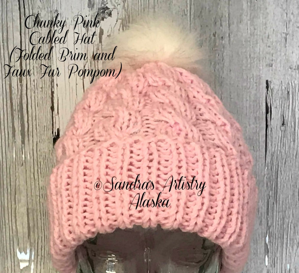 b35b6d588e0 Chunky Pink Cabled Hat (Folded Brim and Faux Fur Pompom)