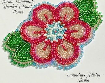 """Alaska Handmade Beaded Vibrant Flower-Leaves-3x4"""" in Czech Glass Beads"""