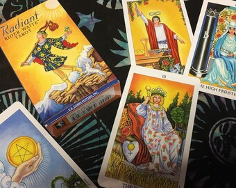 "Radiant Rider Waite Tarot Deck Card Games with 78 Tarot Cards in paperback 2.75 x 4.75 in or tin 2"" x 3.5"" for any Tarot Reader"