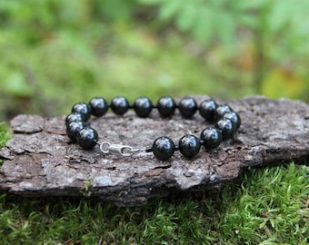 Beaded Shungite Bracelet for EMF protection, energy healing, purifying, Shungite jewelry, personal power, 9 mm, beads