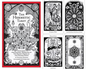 """Hermetic Tarot Deck by Dowson & Godfrey, includes 78 Tarot cards based upon the Golden Dawn 2.75"""" x 4.62"""""""
