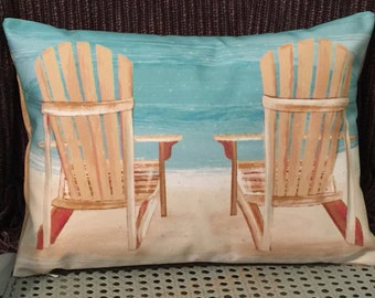 Custom Pillow Cover   ADIRONDACKS At The BEACH   Peaceful Beach Living    Decorative Pillow Beach Chair