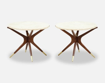 da8472abadcb7 Mid-Century Marble Top Side Tables with Sculpted Jax Style Bases
