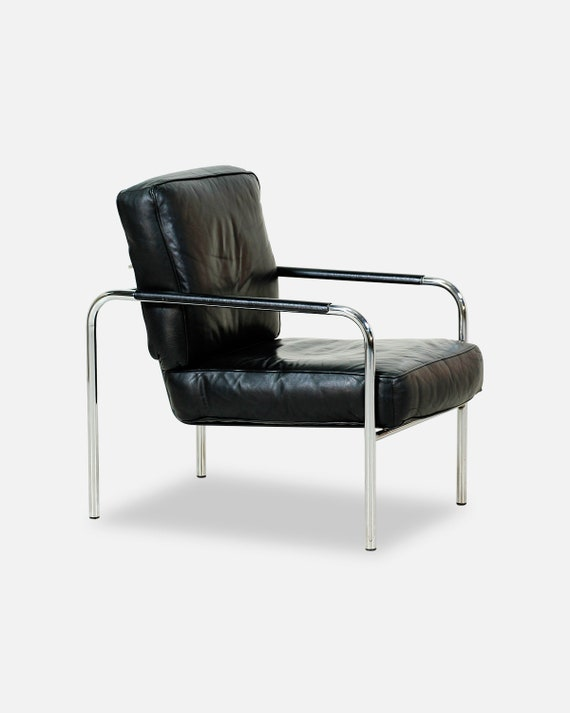 Magnificent Mid Century Adjustable Chrome Leather Lounge Chair Theyellowbook Wood Chair Design Ideas Theyellowbookinfo