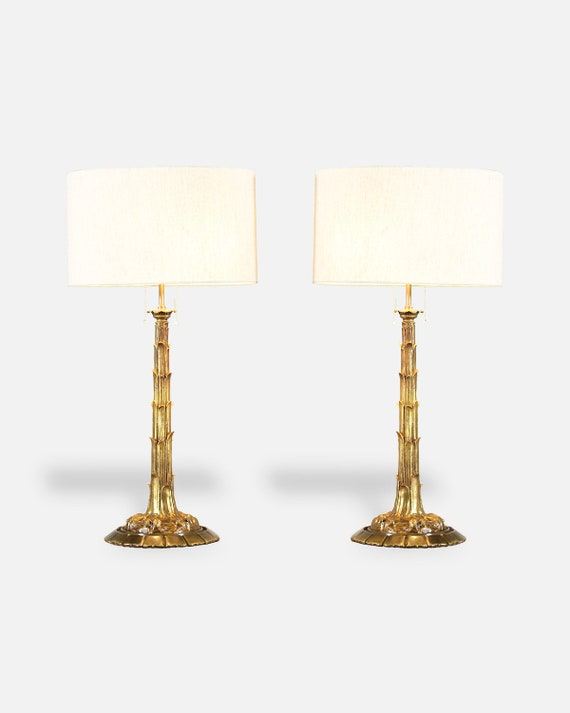 French Bronze Dore Palm Tree Table Lamps