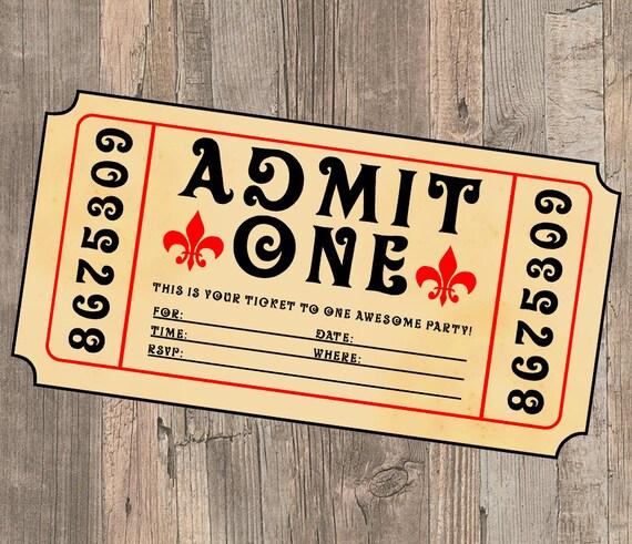 Movie Ticket Birthday Party Invite Admit One