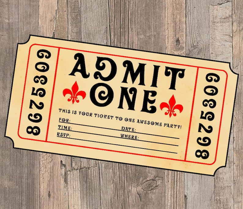 Movie Ticket Birthday Party Invite Admit One Birthday Party