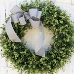 Modern Farmhouse Boxwood Wreath, Front Door Wreath with Gray Bow, All Year Round Outdoor Wreath