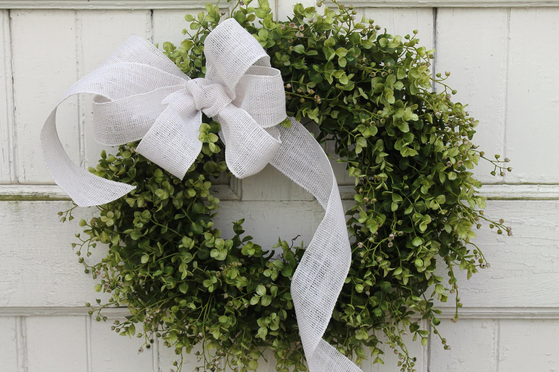 Farmhouse Boxwood Wreath with White Burlap Bow Outdoor