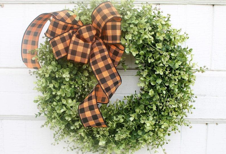Outdoor Halloween Front Door Wreath Fall Boxwood Wreath with image 0