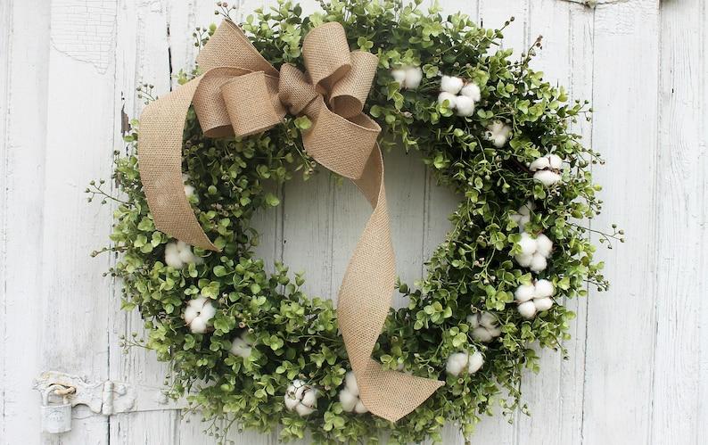 Cotton and Boxwood Wreath with Burlap Bow Farmhouse Decor image 0