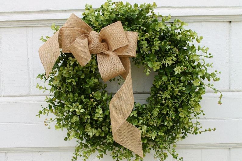Boxwood Wreath with Burlap Bow Farmhouse Wreath Green Wreath image 0