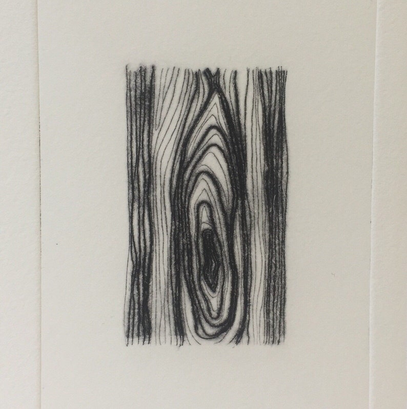 Cherry drypoint wood grain pattern etching image 0