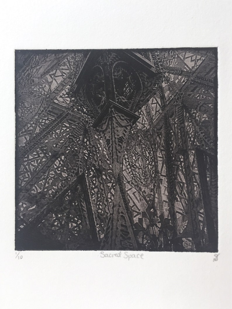 Hand Pulled Architectural Fine Art Etching  Unframed image 0