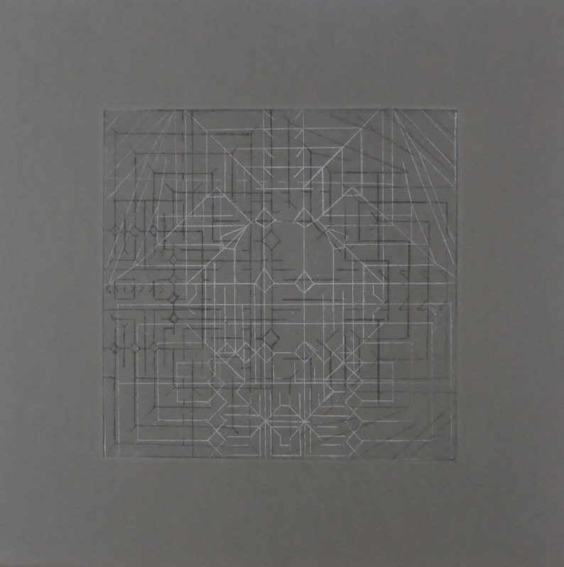 Hand printed geometric etching on gray paper image 0