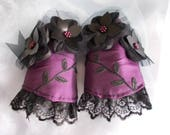 Cuff Bracelets, Fabric Cuffs, Victorian Cuff Bracelets, Steampunk Cuff Bracelets, Gothic Cuff Bracelets, Pair, Wedding, Purple, Flowers