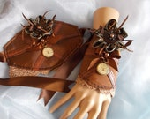 Cuff Bracelets, Fabric Cuffs, Pair, Steampunk Bracelets, Cosplay, Costume, Flowers, Lacy, Beaded, Brown