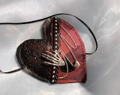 Large Heart Shaped Eye Patch, Masquerade, Party, Pirate, Gothic, Steampunk, Halloween,  Cosplay, Rock, Black, Deep Red, Skeletal Hand