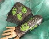 Gothic Cuff Bracelets, Cyber Punk Cuff Bracelets, Cosplay, Costume, Photoshoot, Lacy, Black, Lime Green, Cross