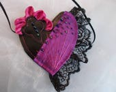 Eye Patch, Gothic Eye Patch, Cosplay Eye Patch, Heart Shaped, Burlesque, Pirate, Photo Shoots, Purple, Lacy, Beaded