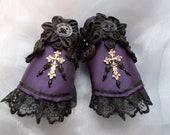 Cuff Bracelets, Fabric Cuffs, Gothic Cuff Bracelets, Steampunk Cuff Bracelets, Victorian Cuff Bracelets, Cosplay, Purple, Cross, Beaded