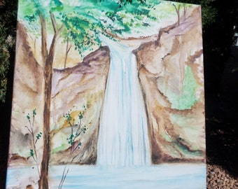 Healing Crystal Waterfall, India watercolor painting on stretched canvas, 20x26.