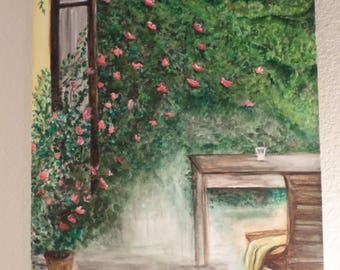 Landscape rose garden watercolor painting. Canvas 18x 20 inches