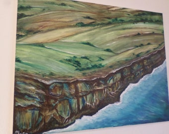 Irish Sea Cliffs Stir, Watercolor Painting on Canvas 20x16 inches