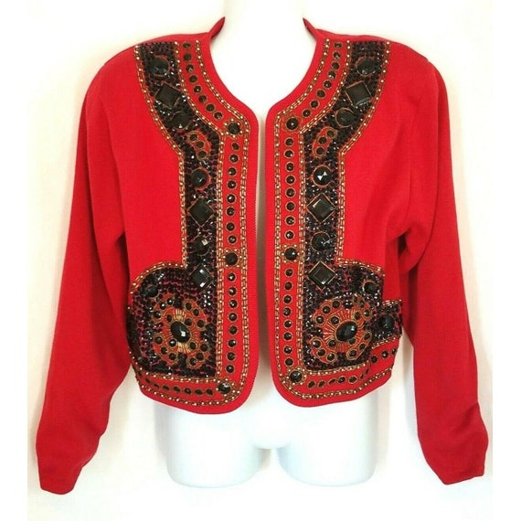 Ann Wi Vintage Red Knit Jeweled Beaded Matador Sty