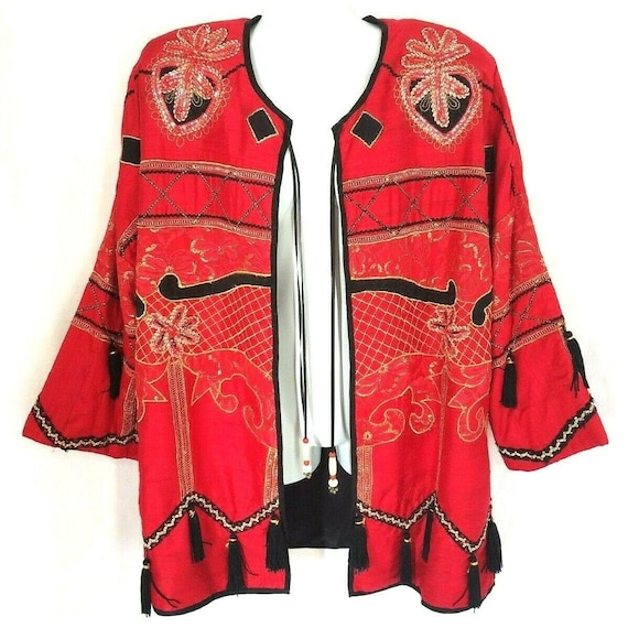 The Icing Jacket Vintage Red Silk Artsy Embroidere