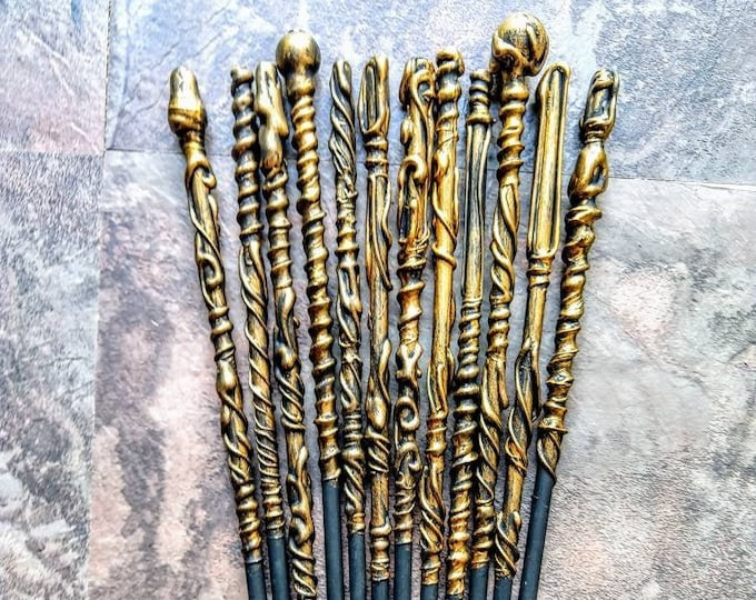 Magic Wands - Wedding Wands - Gold and Black Wands - Wizard Wands - Party Favors - Wedding Favors - Bachelorette Party Favors