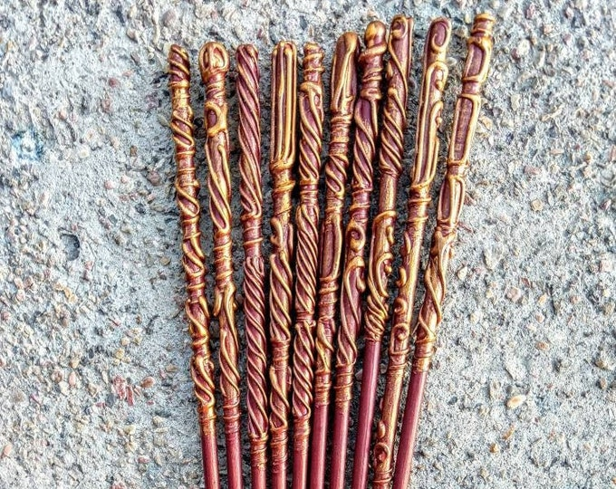 Red and Gold Wizard Wands - Wizard Wands - Witch Wands - Party Favors