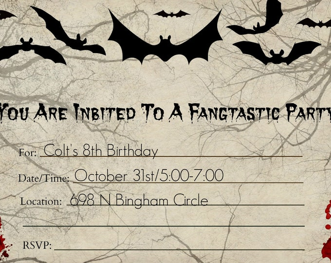 Vampire Party Invitation - Bat Party Invitation - Monster Party Invitation - Printable Invitations - Downloadable Invitations