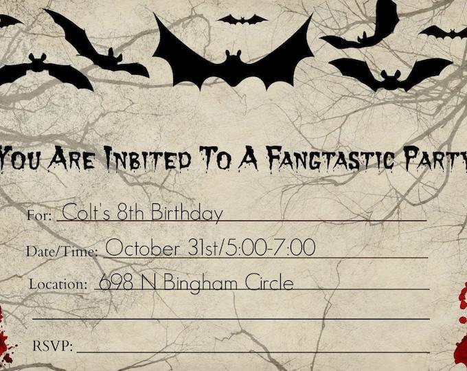 Vampire Party Invitation - Bat Party Invitation - Monster Party Invitation - Printable Invitations - Downloadable Invitations