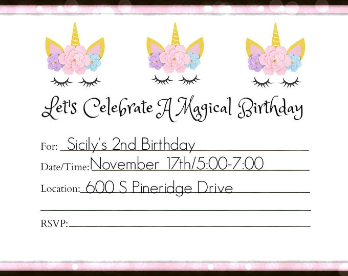 Unicorn Party Invitation - Magic Party Invitation - Horse Party Invitation - Printable Invitations - Downloadable Invitations