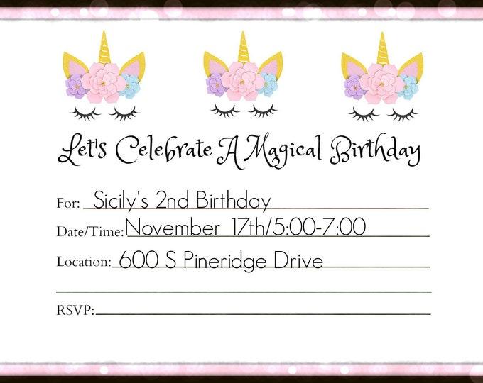 Magic Party Invitation Horse Party Invitation Downloadable Invitations Printable Invitations Unicorn Party Invitation