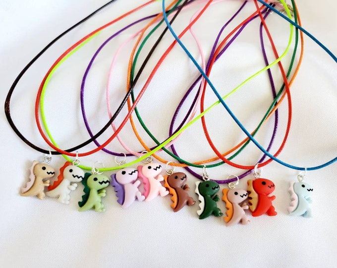 Little Dinosaur Necklace - Dino Charm - Party Favors - Birthday Party Favors - Candy Party - Candy Party Favors