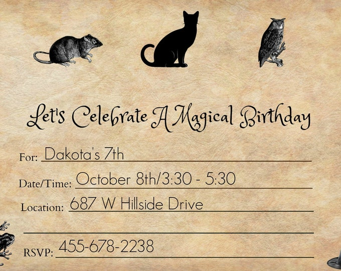 Wizard Party Invitation - Witch Party Invitation - Magic Party Invitation - Printable Invitations - Downloadable Invitations
