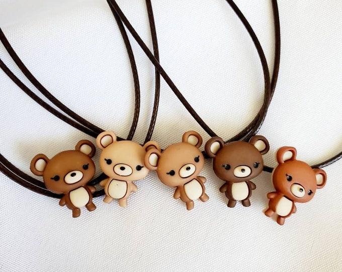 Little Bear Necklace - Bear Charm - Party Favors - Birthday Party Favors - Candy Party - Candy Party Favors