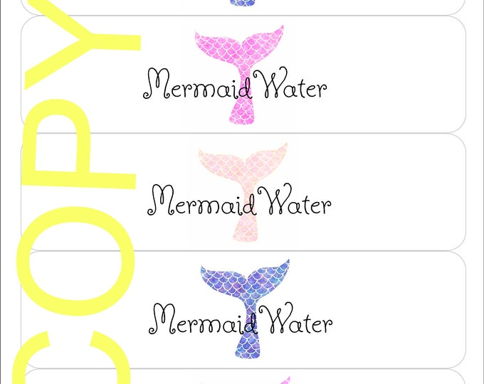 Mermaid Water Bottle Labels - Mermaid Party Decor - Under the Sea Labels - Printable Party Decor - Printable Water Bottle Labels