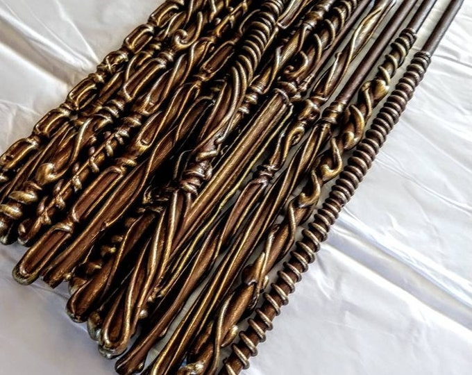 Magic Wands - Party Favors - Wedding Favors - Brown and Gold Wands - Bachelorette Party Favors - Best Selling Wands - Wizard Wands
