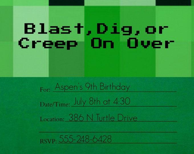 Mine Invitation - Pixel Invitation - Green Invitation - Printable Invitations - Downloadable Invitations - Party Invitations
