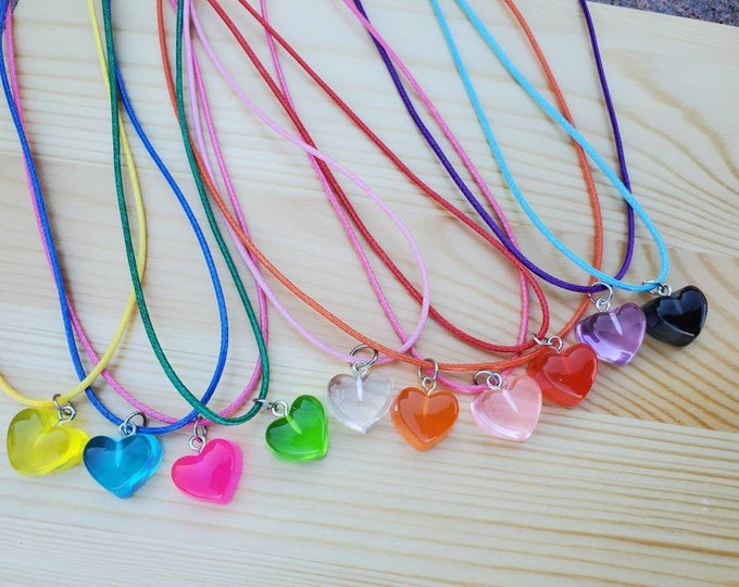 Heart Necklace - Heart Charm - Party Favors - Birthday Party Favors - Candy Party - Candy Party Favors