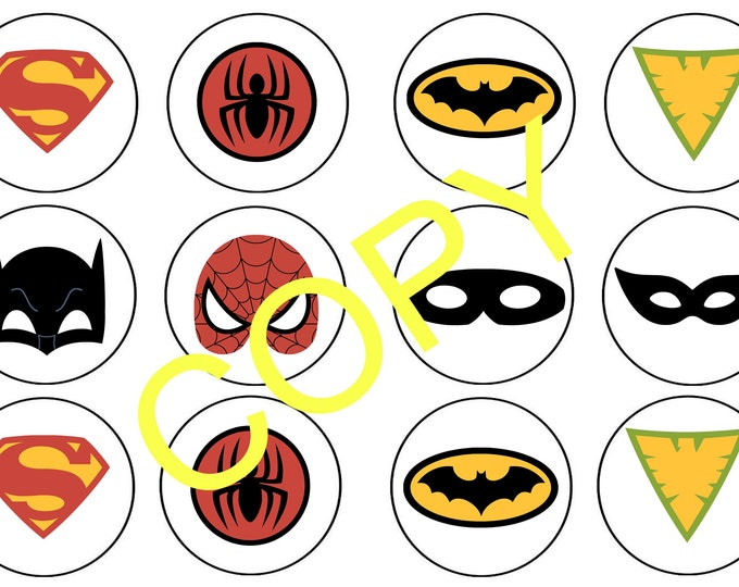 DC Hero Cupcake Toppers - DC Hero Party Decor - Printable Party Decor - Printable Cupcake Toppers