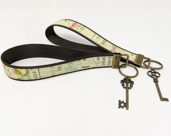 stocking stuffer under 10 Key fob expedition teacher gift World map wristlet geography lanyard