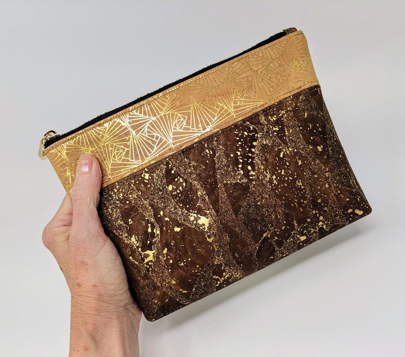 Bronze /& Gold Cork Zipper Pouch