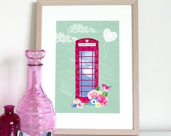UK telephone box with flowers and bird, London Calling, pink telephone box, English telephone box, British phone box, London print, London