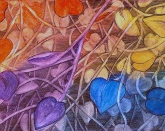 Abstract Leaves , Watercolor Painting.
