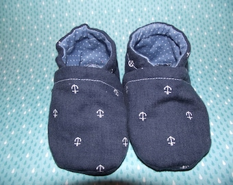 Dark blue jean baby booties shoes with anchors & polka dot inside -  Size US 2 for 3-6 Months